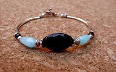 Genuine Black Onyx Blue Jade Antique Silver by IslandGirl77, $29.99