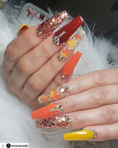 best fall nail art designs in 2019 148 Summer Acrylic Nails, Cute Acrylic Nails, Glitter Nails, Neon Nails, Perfect Nails, Gorgeous Nails, Pretty Nails, Cute Acrylic Nail Designs, Fall Nail Art Designs