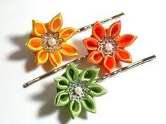Citrus Kanzashi -- Set of Three Bobby Pins