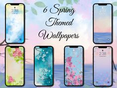 Spring Themed Phone Wallpapers (Set of 6)