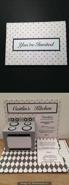 Invitation - Bridal Kitchen Shower Pop-up Oven Pull out recipe card for guests to give to bride CUSTOM ORDERS ACCEPTED; Cards with Charisma
