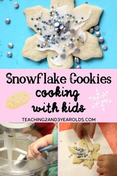 Make some easy and delicious snowflake sugar cookies with your toddlers and preschoolers! They are a nice compliment to your winter theme. A great way to work on simple counting skills while also strengthening fine motor development. Toddler Themes, Toddler Fun, Toddler Preschool, Preschool Activities, Simple Snowflake, Snowflake Cookies, Cookies For Kids, Allergy Free Recipes, Baby First Birthday