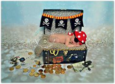 Newborn Pirate Hat  Pirate Outfit Crochet Baby Beanie Eye Patch  Photography Photo Prop Ha... £14.99