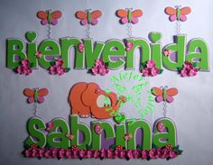 Tierna elefantina...=) Baby Shower, Yoshi, Lettering, Banners, Fictional Characters, Stall Signs, Jelly Beans, Manualidades, Babyshower