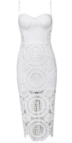 Buy Lace Two-Piece Bandage Dress very sexy, elegant, body-con fit, lace on top and bottom, length below knee, back zipper Material- 90% rayon /9% nylon/ 1% spandex, lace Color - White Size - Small, Me