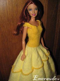 Knit: Disney princess dress, Belle Source by Barbie Clothes Patterns, Crochet Barbie Clothes, Clothing Patterns, Belle Barbie Doll, Barbie Dress, Disney Princess Dresses, Belle Dress, Couture, Accessoires Barbie