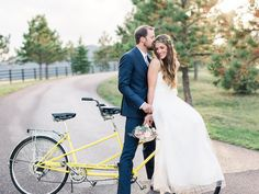 A tandem bike for the bride and groom's getaway! (photo by Lauren Fair Photography)