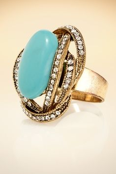 Turquoise crystal ring. #BostonProper #Jewelry