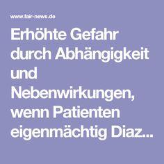 Erhöhte Gefahr durch Abhängigkeit und Nebenwirkungen, wenn Patienten eigenmächtig Diazepam kaufen - fair-NEWS.de