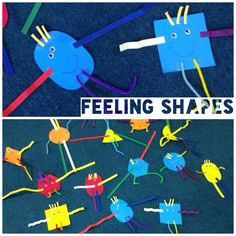 Great activity for learning about shapes and   Feelings. Children draw the mouth expression they stick the rest. Materials used: pipe cleaners, corrugated paper, goggly eyes.