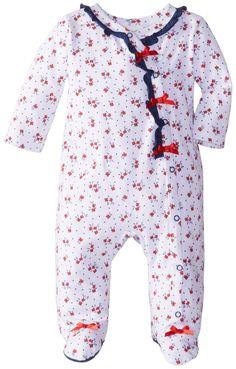 ABSORBA Baby-Girls Newborn Tea Party Footie, White/Blue, 3-6 Months