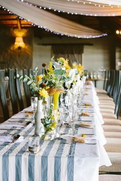 grey and yellow reception, photo by Lad & Lass http://ruffledblog.com/villa-paradiso-wedding #weddingideas #weddingreception