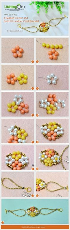 How to Make a Beaded Flower and Gold PU Leather Cord Bracelet from LC.Pandahall.com   Jewelry Making Tutorials & Tips 2   Pinterest by Jersica