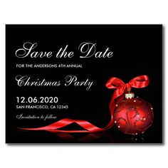 Christmas & Holiday Party Save The Date Postcard An elegant Christmas or holiday party save the date postcard. Featuring a red ornament with ribbon against a black background. Great for private and corporate holiday party events. Christmas Save The Date, Elegant Christmas, Merry Christmas And Happy New Year, Christmas Holidays, Christmas Wedding, Christmas Cards, Holiday Cards, Christmas Ideas, Christmas Engagement