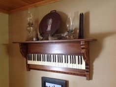 Old piano keyboard repurposed into wall decor hanging shelf shelves ;by Rustic Elegant Decor on etsy; Upcycle, Recycle, Salvage, diy, thrift, flea, repurpose, refashion! For vintage ideas and goods shop at Estate ReSale & ReDesign, Bonita Springs, FL