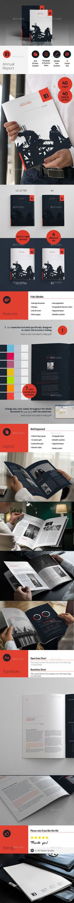 Annual Report Template m1 - A4 Landscape InDesign INDD #design - annual report template design