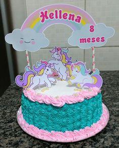 bolo unicornio chantilly com topper Cake Decorating Frosting, Cupcake Frosting, Cupcake Cakes, Unicorn Party, Unicorn Birthday, Diy Unicorn Headband, Baby Girl Cakes, Beautiful Birthday Cakes, Paper Cake