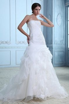 Trumpet/Mermaid Strapless Organza Wedding Dress ted0545 - SILHOUETTE: Trumpet/Mermaid; FABRIC: Organza; EMBELLISHMENTS: Beading; LENGTH: Chapel Train - Price: 167.2700 - Link: http://www.theeveningdresses.com/trumpet-mermaid-strapless-organza-wedding-dress-ted0545.html