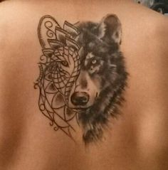 Half realistic and half artistic. This tattoi is the combination of the two wolfs inside us. the right part of the face is dedicated to caos and creativity. The other part is rational and logical. And overall wolfs are a sign of Independence and Wildness!