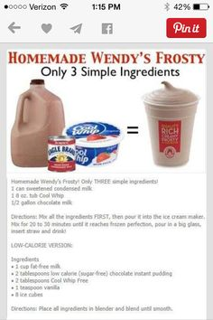 Homemade Wendy's Frosty + Low Cal version too! is part of Frosty recipe - Frozen Drinks, Frozen Desserts, Frozen Treats, Just Desserts, Delicious Desserts, Yummy Food, Dessert Recipes, Frostig Rezept, Low Cal