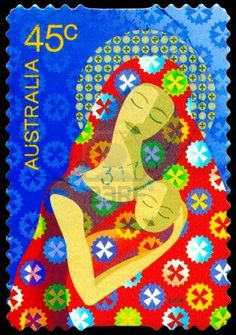 Australian christmas stamp. I've had a pic of this in one of my ideas folders for years- always loved the fabric design and colours.
