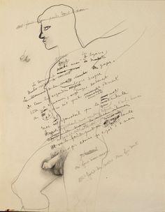 Homme nu by Jean Cocteau Travel Sketchbook, Jean Cocteau, Illustrations, Figurative Art, Erotica, Sexy Men, Doodles, Naked, Letters