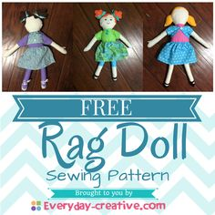 Sew Toy Free Rag Doll Pattern - makes a cute adorable gift for any little girl! Doll Patterns Free, Doll Sewing Patterns, Sewing Dolls, Doll Clothes Patterns, Sewing Clothes, Sewing Ideas, Diy Rag Dolls, Diy Doll, Fabric Doll Pattern