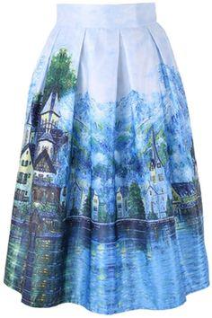 Niyatree Ink Painting Vintage Women Pleated Dress High Waist Trumpet Midi Skirt-Blue