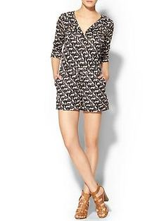 """Romper w/ 1 1/2"""" neck band & placket. Patch pocket on bust, 3/4"""" sleeves, w/ draw string on hips, & side pockets :))"""