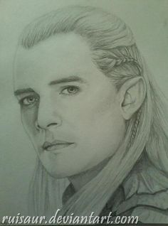 My drawing of Orlando Bloom as Legolas from the Hobbit.
