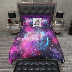 Dark Pink and Blue Nebula Galaxy Duvet Bedding Sets