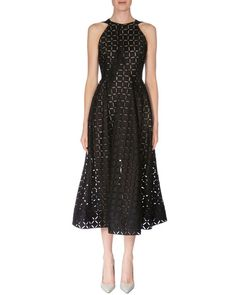 Diamond-Cut Fit-&-Flare Dress, Black