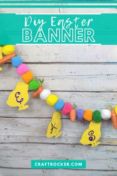 This DIY Easter banner is the perfect way to add a colorful pop to your mantle for the holiday! It's also a perfect backdrop for your Easter festivities this year. #easterbanner #diy #easterdecor #colorfuleasterbanner #craftrocker Dollar Store Christmas, Dollar Store Crafts, Valentine Day Crafts, Holiday Crafts, Easter Banner, Easter Egg Crafts, Diy Banner, Coloring Easter Eggs, Easter Colors