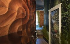 multi-layer wall covering of real wooden veneers. Creative Architecture, Architecture Design, Wall Cladding Designs, 3d Wall Decor, Wall Art, 3d Wall Panels, Wooden Walls, Wood Design, Interior Design Inspiration
