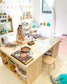 E M M A Baby Play + Beyond su quot; TROFAST KIDS TABLE Weve been getting so much use out of our new table recently - its exactly how I envisioned it and I just love how quot; Baby Bedroom, Kids Bedroom, Home Games For Kids, Ikea Kids Room, Ikea Playroom, Kids Playroom Storage, Playroom Table, Playroom Organization, Playroom Design