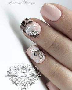 The Best Wedding Nails 2019 Trends ❤ wedding nails 2019 nude black grey flowers leaves nail_marina_disign Classy Nails, Stylish Nails, Gorgeous Nails, Pretty Nails, Nagellack Design, Bride Nails, Manicure E Pedicure, Nagel Gel, Flower Nails
