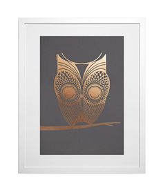 Foil Owl on Charcoal - East End Prints - we love his swirling tail! Buy Prints Online, Unusual Presents, Framed Art Prints, Charcoal, Unique Gifts, Owl, Copper, Tapestry, Bird