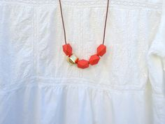 Wood Necklace Geometric Necklace Chunky Bead Necklace by miginy, $15.00