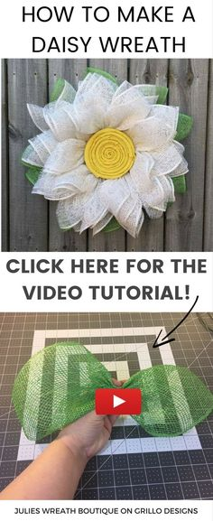 Learn how to make this one of a kind burlap daisy wreath for your front door this spring (or summer)! Get all the DIY details, including a video tutorial below.