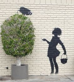Banksy is an England-based graffiti artist, political activist, film director, and painter. His eye-opening street art combines irreverent dark humour with Banksy Graffiti, Arte Banksy, Street Art Banksy, Bansky, Urbane Kunst, Custom Canvas Prints, Amazing Street Art, Stencil Art, Chalk Art