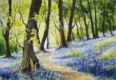 Judi Trevorrow my first inspirational teacher Watercolor Pictures, Watercolor Trees, Watercolor Landscape, Landscape Paintings, Watercolour Painting, Watercolours, Forest Art, Nature Drawing, Water Art