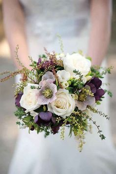 If you've chosen purple, lavender, plum or blue as your signature colour, browse this gallery to find the perfect wedding bouquet to complement your style.
