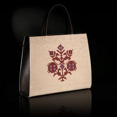 """The woven handmade bag """"Anthemis"""" is decorated by a pattern inspired of a traditional outfit from island Astipalaia. Leather's color is black, the background is ecru-beige and the traditional pattern is in deep red shade. Art Bag, Handmade Bags, Traditional Outfits, Design Art, Hand Weaving, Reusable Tote Bags, Deep, Beige, Island"""