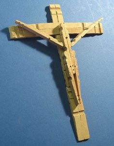 Homemade clothes pin crucifix.