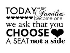 Free Wedding Printable: Choose a Seat, Not a Side