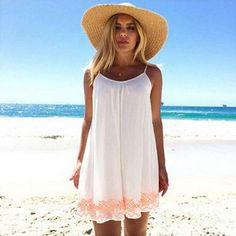 White Harness Backless Short Summer BOHO Sundress