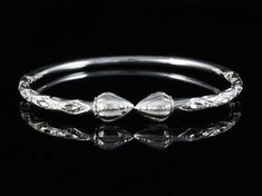 160 West Indian Bangle with Cocoa Pods Calypso Pattern Handmade in Sterling Silver .925 **CLEARANCE**