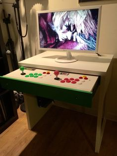 Installed a custom 2 player fight stick panel into my Micke computer desk drawer to be used as a pull-out arcade setup.