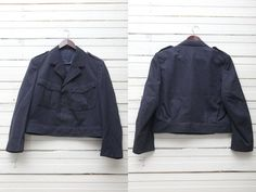 Vintage Army Uniform Jacket / 1980s Vintage Women Dark Blue Jacket / Large Blazer Women / Size L Large / Crop Battle Formal Jacket  Beautiful dark blue women jacket. Dark blue lining inside. Jacket features a line of hidden buttons, Two pockets. ♔♔♔ BRAND: n/a. Material: n/a. Color: dark blue. Condition: excellent vintage condition. No holes. No stains. Looks like never been worn. Size: not indicated, but fits large size.  ♔♔♔ MEASUREMENTS length : 58 cm/ 22...