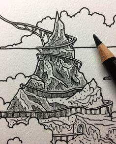 Climbing down the mountain.  #wip #illustration #nathandouglasyoder